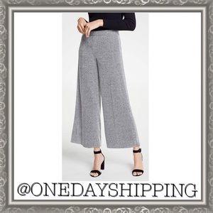 Ann Taylor Gray Marled Knit Wide Leg Crop Pants